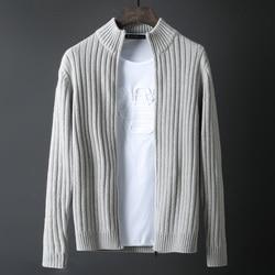 Новое поступление мужской черный зимний утолщенный теплый супер большой красивый вязаный кардиган на молнии свитер пальто размер M-5XL 6XL