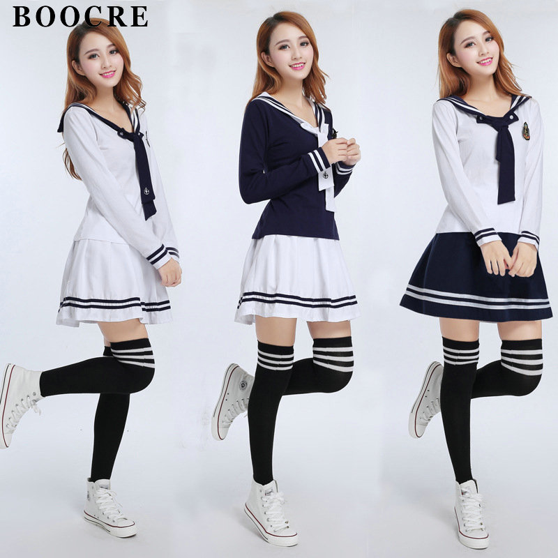 BOOCRE Japanese/Korean Sailor Suit England Style Cosplay Costumes Cute Girls Student School Uniforms JK Sets