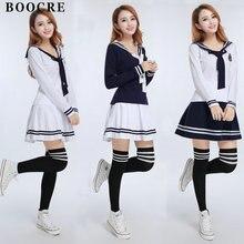 BOOCRE Japanese/Korean Sailor Suit England Style Cosplay Costumes Cute Girls Student School Uniforms JK Sets