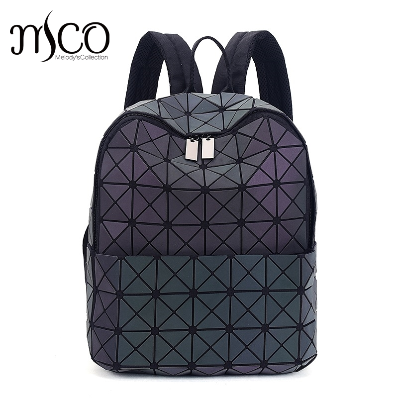 2017 Japan Style Laser Holographic Women Bao Night Luminous Backpack Quilted Daypack Bag Geometry Diamond Backpacks