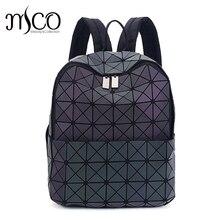 2017 г. Япония Стиль лазерной голографической женщины Bao ночь световой рюкзак Стеганый рюкзак мешок Геометрия алмаз Рюкзаки для путешествий