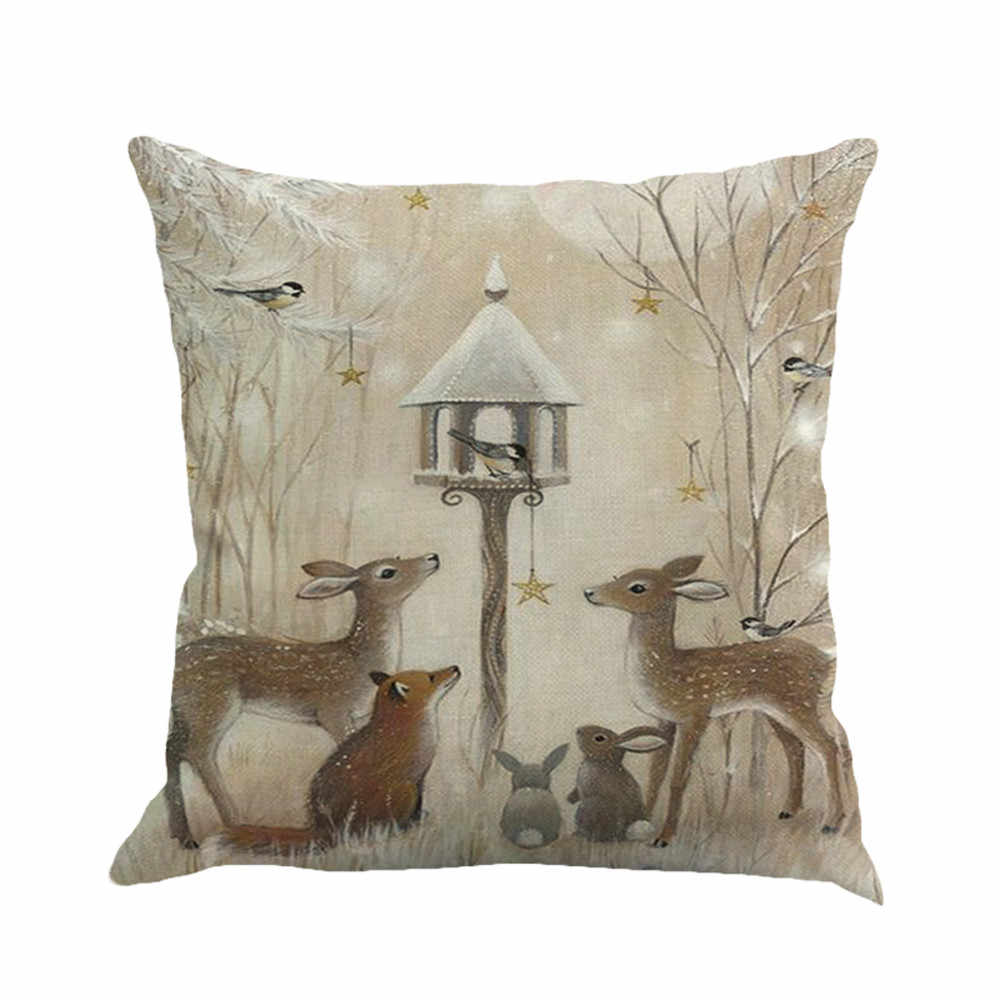 1Pcs 45*45cm Christmas Deer Snowman Pattern Cotton Linen Throw Pillow Cushion Cover Case Car Home Sofa Decorative Pillowcase