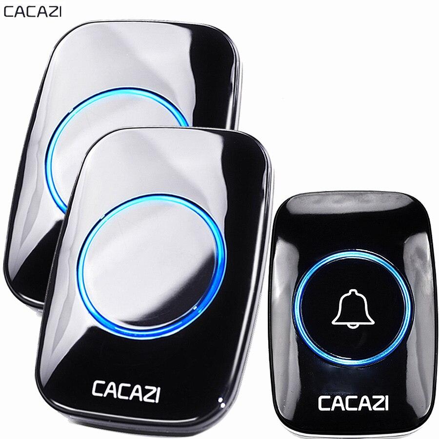 CACAZI New Campainha Sem Fio À Prova D' Água 300 M Remoto UE UA REINO UNIDO EUA Plug bateria Da Porta de Bell Chime 1 2 botão inteligente 1 2 3 receptor AC