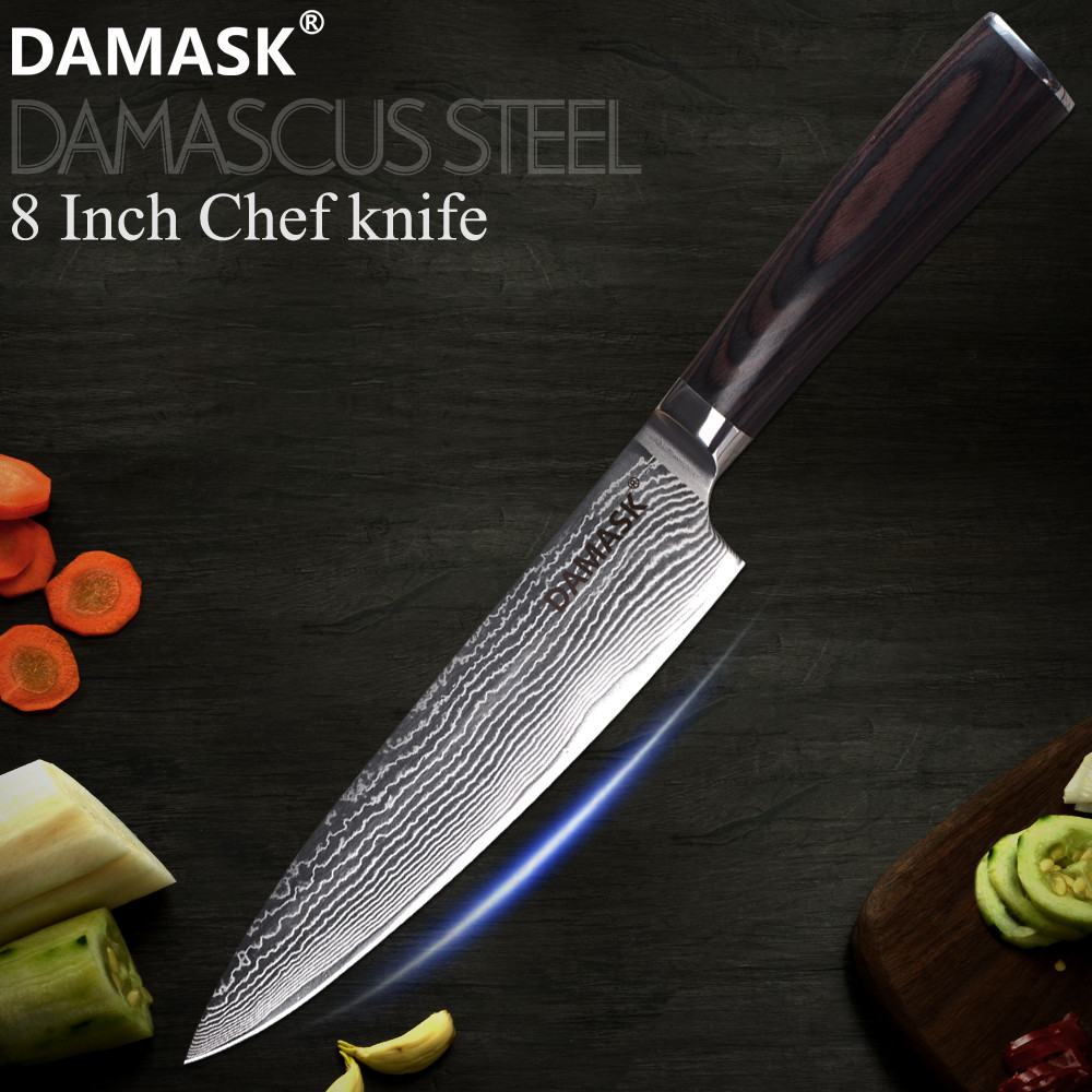 DAMASK Super Sharp 8 inch Damascus Chef Knife VG10 Core 67 Layer Steel Kitchen Knives Wood Handle Tool