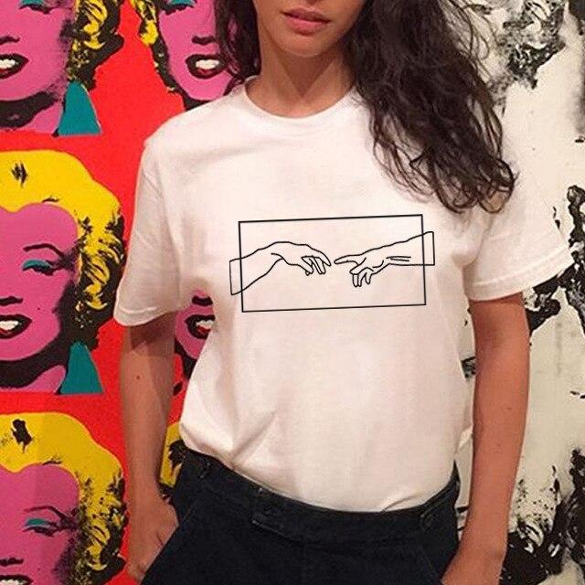FIXSYS moda mujer impresión camiseta Harajuku estilo gráfico impreso ropa negro blanco algodón camiseta Casual mujer camiseta Ropa para bebés y niñas recién nacidos camiseta con ciervo + pantalón + sombrero 3 uds. Conjuntos de ropa de bebé de dibujos animados lindos conjuntos de 0-24M