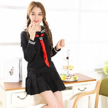 sailor suit school uniform sets fashionable school uniforms for girls black white and dark blue shirt and skirt suits 50(China)