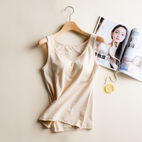 Women Underwear 100 Cotton Built In Padded Bra Tank Top Candy Color Breathable Camisole Solid Push