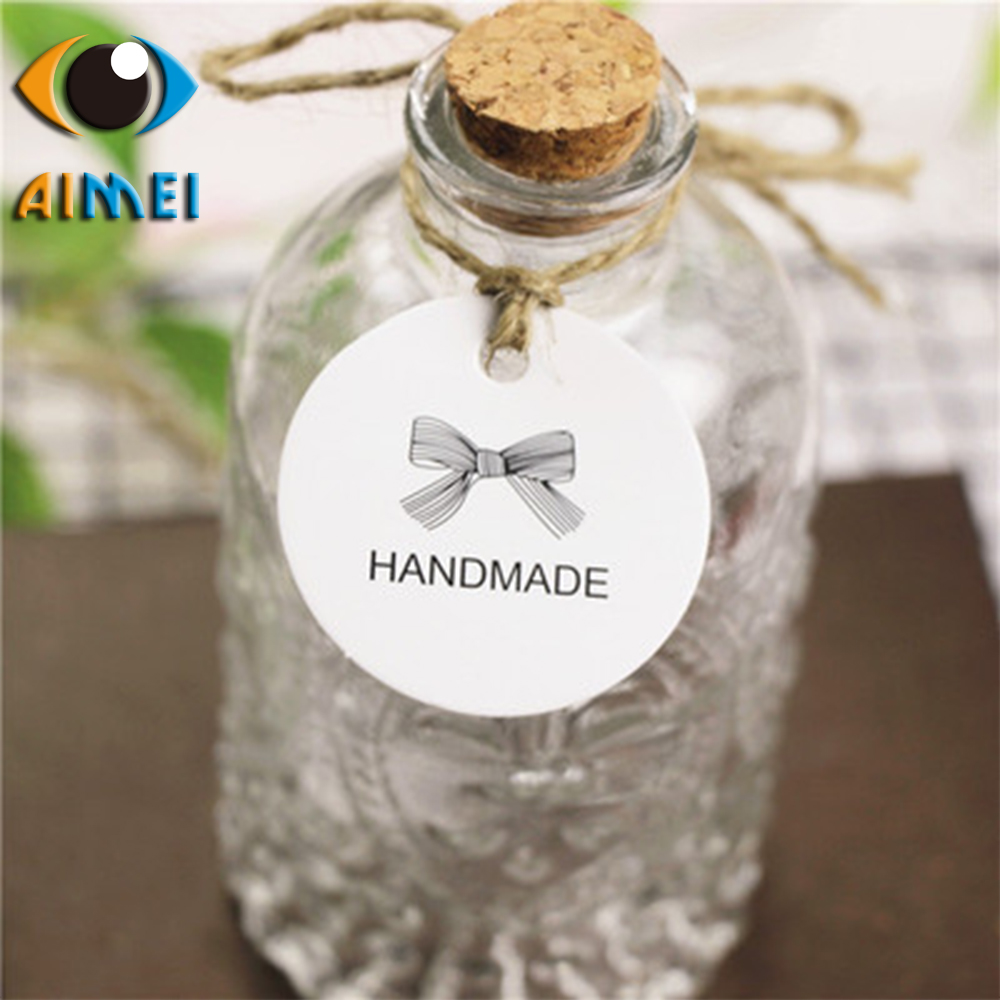 New handmade kraft paper round bow design small label drift bottle gift packaging small tag