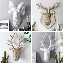 European creative three-dimensional animal head deer wall hanging living room decoration resin crafts