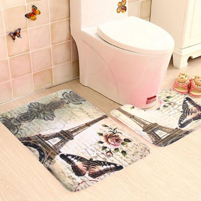 2pcs Eiffel Tower Pattern Non Slip Soft Bathroom Toilet Rug Bath Mat