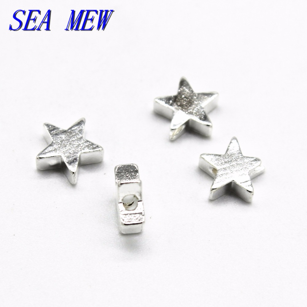 SEA MEW Jewelry Making 7*3mm Stars Spacer Beads Raw Brass Silver Antique Bronze Plated Hole Bead DIY Jewelry Accessories  Ювелирное изделие