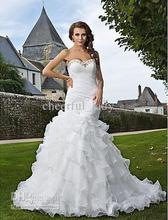 2014 - Custom Made Ruched Trumpet/Mermaid Sweetheart Strapless Chapel Train Beads Organza Tiered Wedding Dress
