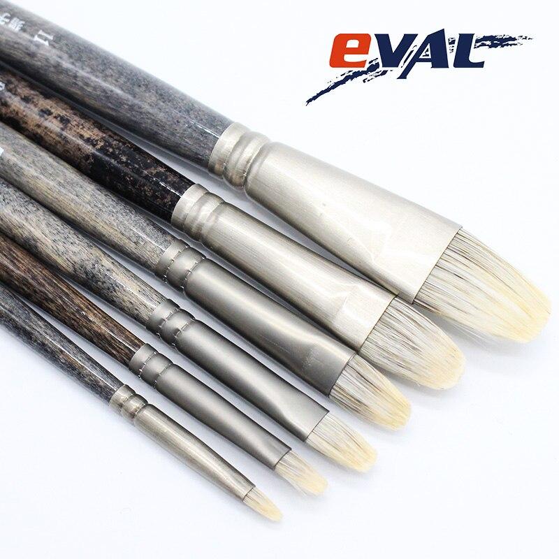 Eval 6pcs Ferret badger hair Birch Rod Quality Watercolor Paint Brush Professional Oil Gouache Acrylic Decorative Art Supplies ...