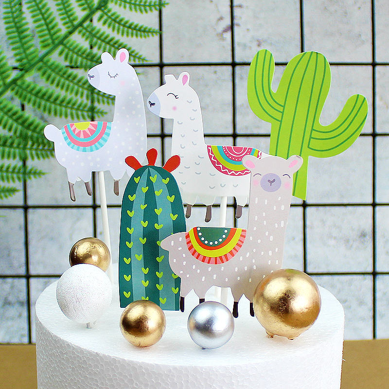 Cactus Alpaca Llamas Cake Topper Cupcake Toppers Summer Jungle Party Cake Decoration Cake Flags Party Supplies