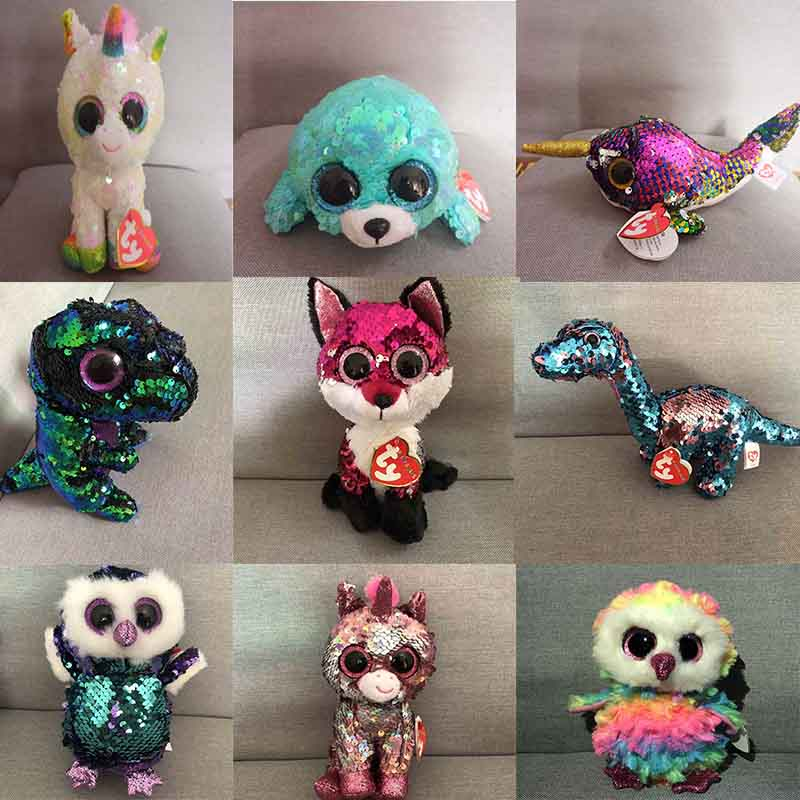 Ty Beanie Boos Big Eyes Sequins Seal Fox Unicorn Dinosaur Owl Lion Unicorn  Bat Plush Toy Doll Stuffed Animal Plush Kid Toy 0d48d7626b4d