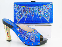 2016 Party sets series matching shoes and bag colorful with rhinestones sandals with handbag SG-100 royal blue