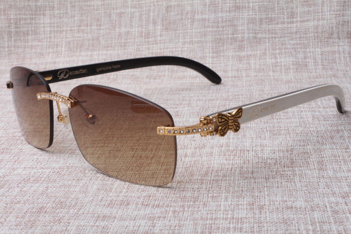 latest sunglasses 4cb5  Wholesale the latest style trendy high-end rimless Diamond Mixed Cattle  horns sunglasses 8200759