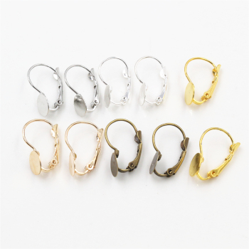 8mm 50pcs/Lot 5 Colors Plated French Lever Back Earrings Blank/Base,Fit Glass Cabochons,Buttons;Earring Bezels