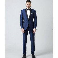 d3b979464ca9 New Classic Blue Men's Dinner Party Prom Suits Groom Tuxedos Custom Made  Cheap Groomsmen Wedding Suits (jacket+pant+tie)