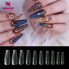 500PCS Long Ballerina Curved Full Cover Nail Tips Clear Natural Coffin False Nails ABS Artificial DIY Art Manicure
