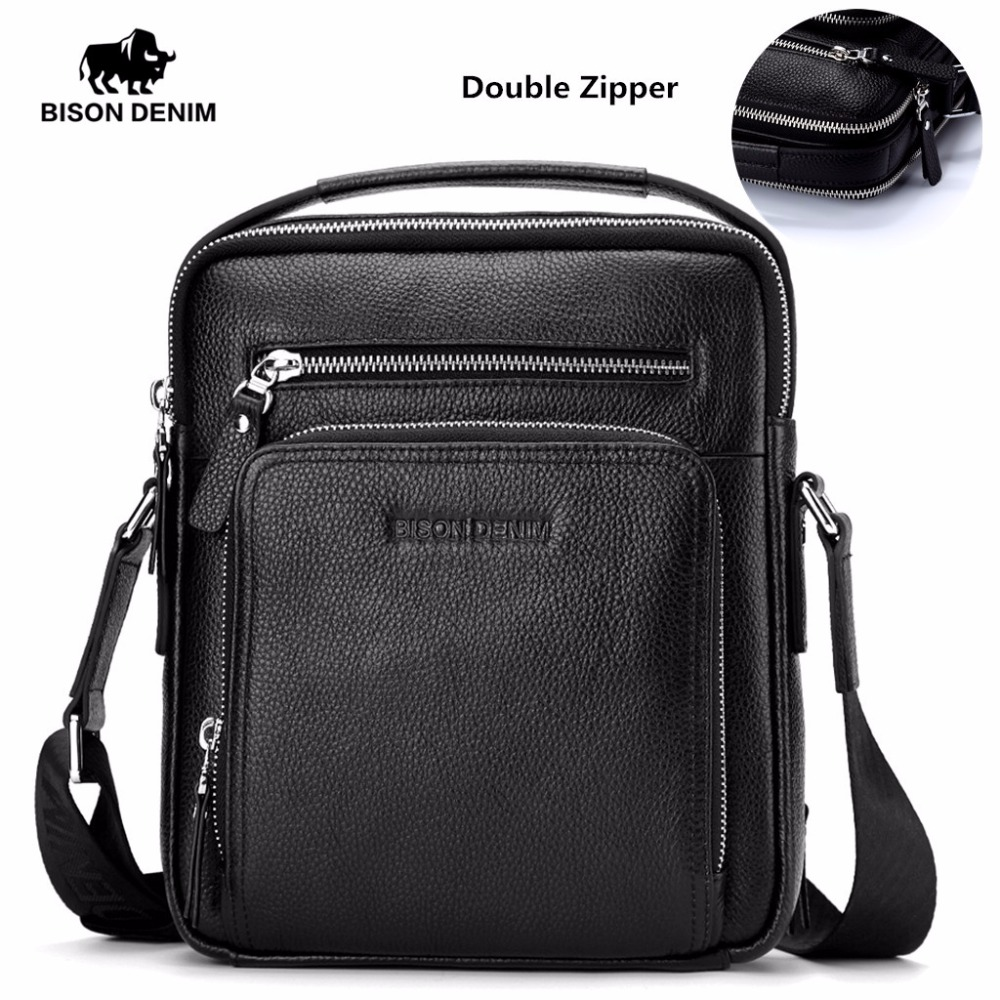 BISON DENIM Genuine Leather Men's Bag Business  Shoulder Crossbody Bag Christmas Gift designer handbags high quality N2333-1&2 bison denim genuine leather men s bag business shoulder crossbody bag christmas gift designer handbags high quality n2333 1