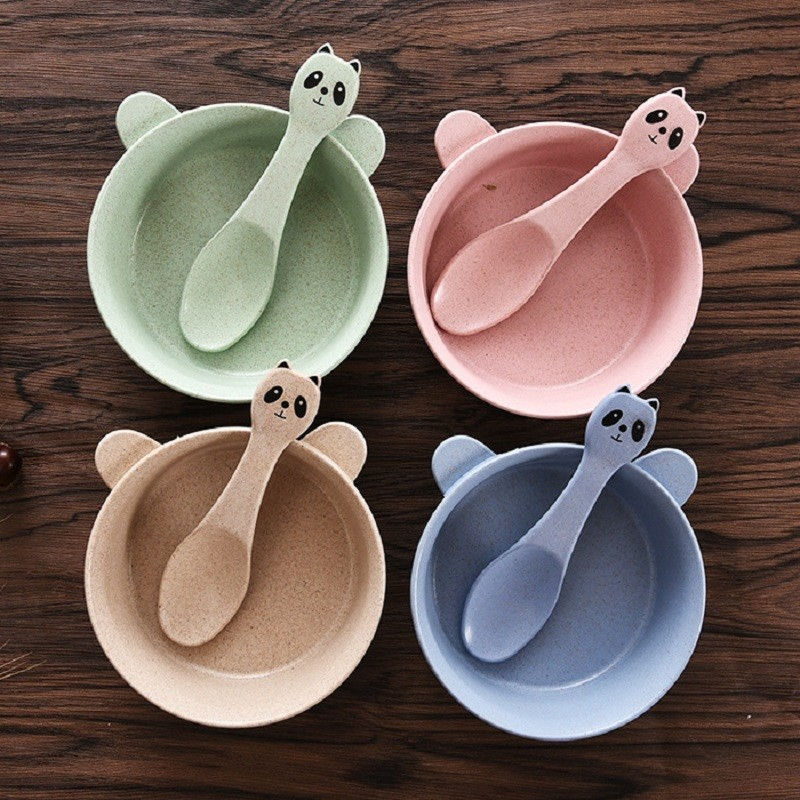 Baby Bowl Straw Tableware Set of Dishes for Baby Tray for Kids Baby Dinner Plate (2)