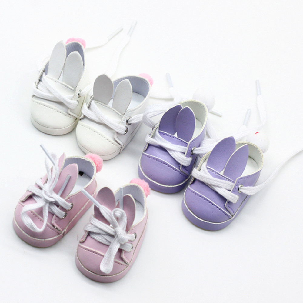 Girls Gift 7cm Purple/Pink/White  Rabbit Mini Doll Shoes For 18 Inch American Reborn 43cm for Baby Girl