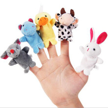 5pcs Plush Stuffed Fingers Puppet on Hands Kids Puppets Show Cartoon Animal Muppet Babies Educational Toys for Children Boy Girl(China)