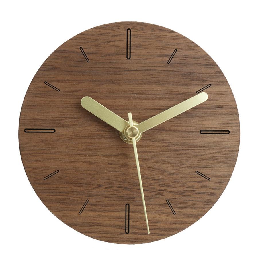 Electronic Desk Clock Japanese Style Simple Clock Creative Design Mute Decorative Office Pendulum Clock Solid Wood Clock 50Y031