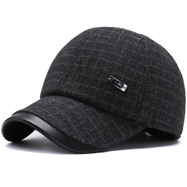 2018 New Mens Winter Wool Baseball Caps with Earmuffs Earflaps Plaid Warm  Leather Hats Bone Gorras Casquette Dad Trucker Hat 7c7be05c2a76