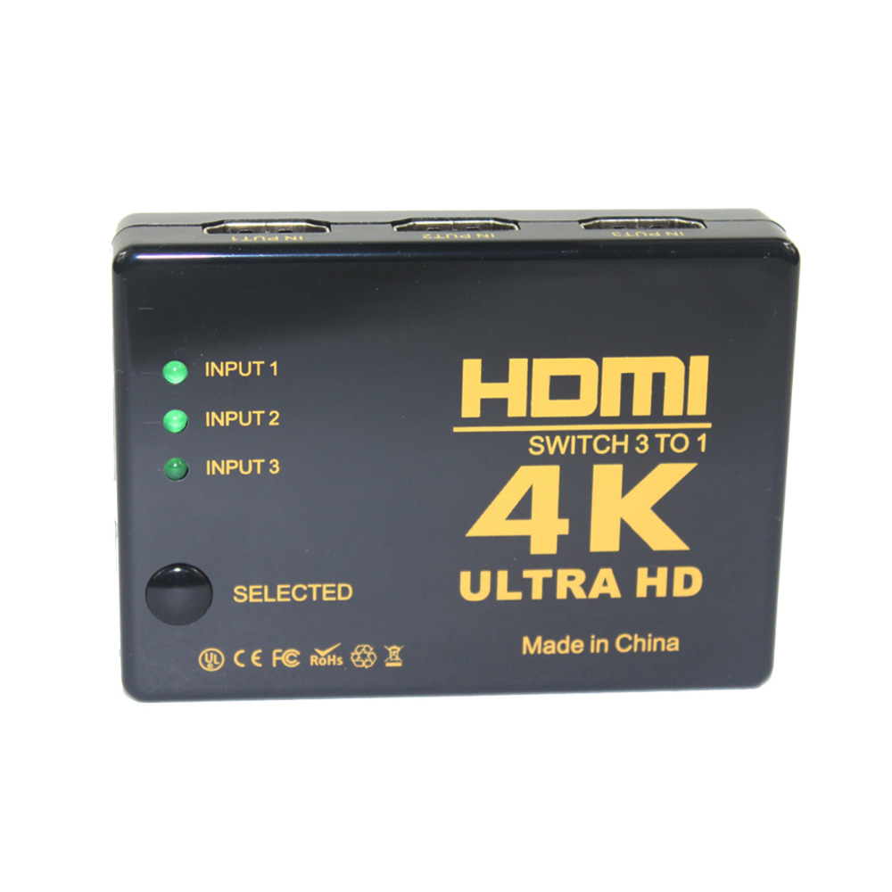 4K*2K 3in-1out HDMI 1.4version Hub Switch Splitter TV Switcher W/ IR Remote - Black