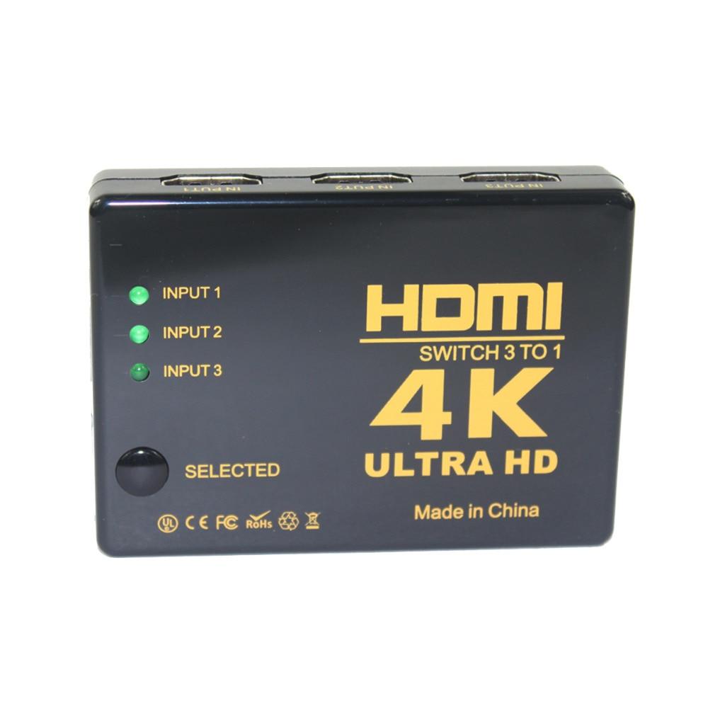 4 K * 2 K 3in-1out HDMI 1,4 версия переключатель концентратора Splitter коммутатор с ИК-пультом дистанционного управления-черный