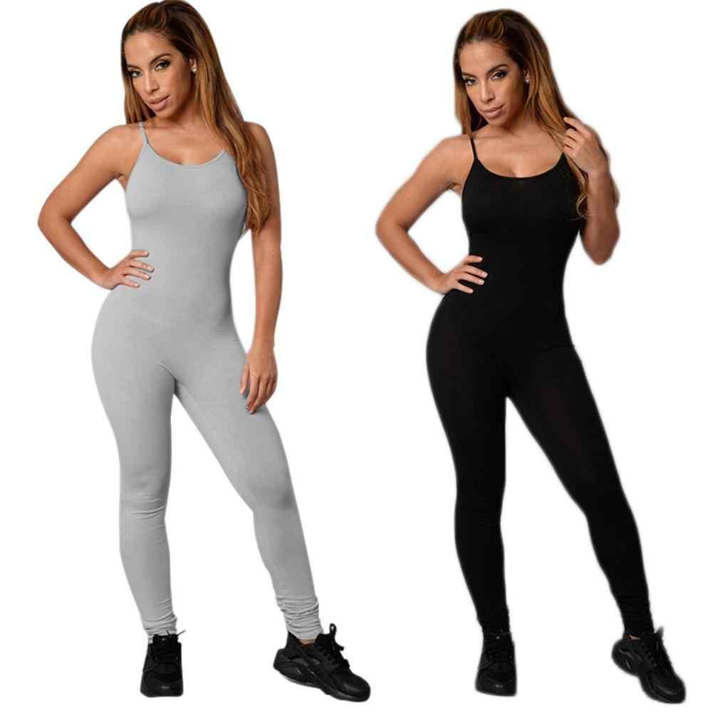 37140b0f3e0c Sexy sin mangas sin respaldo mono overoles 2018 mujeres una pieza monos  traje de Yoga pantalones largos pantalones de Fitness entrenamiento medias  ...