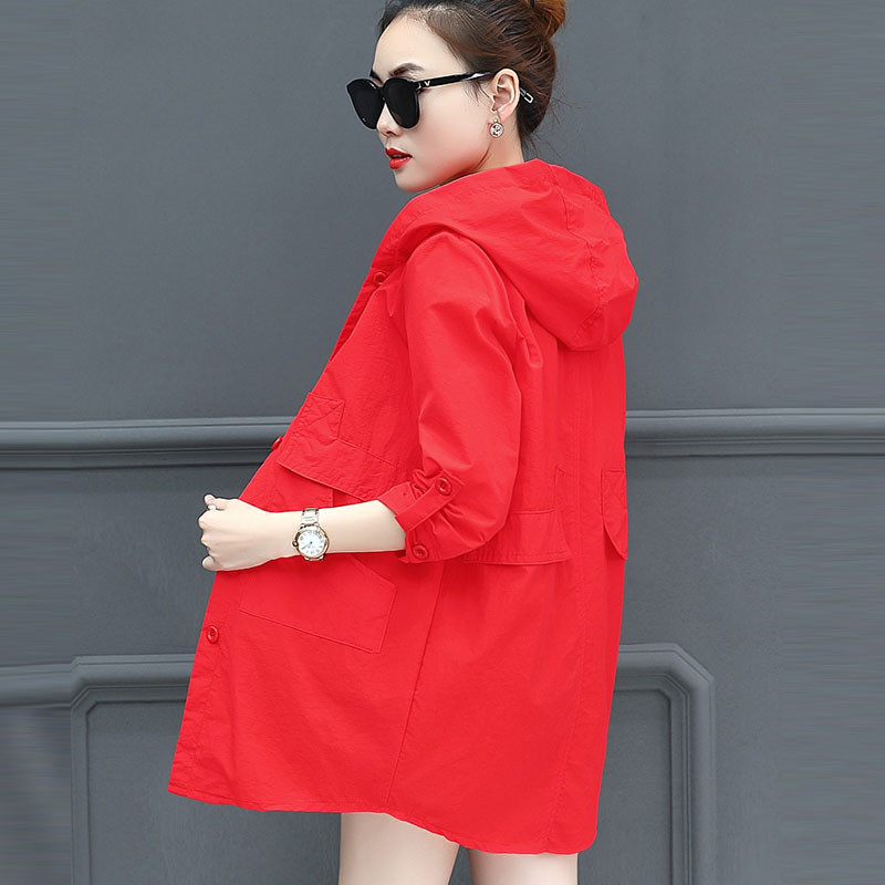 Summer Women's Jacket 2018 New Medium Long  Thin Large Size Women's Jacket Loose Casual Ladies Sun Protection Windbreaker Cw374