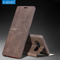 X Level Luxury Ultra Thin Retro PU Leather Flip Cover Case For Samsung Galaxy Note 8