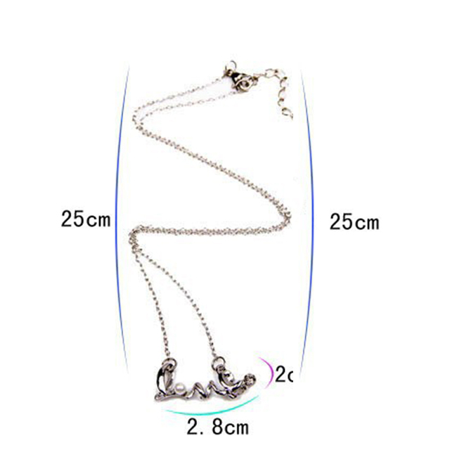 2016 New Fashion Hot Selling Cheap Chic  LOVE Word  Necklaces&Pendants Alloy Love Necklace Length 50cm=20inch #N54 N1185