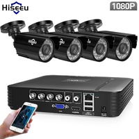 Hiseeu 4CH CCTV System 1080P HDMI AHD CCTV DVR 4PCS 1080P 2.0 MP Option IR Outdoor Security Camera AHD Camera Surveillance Kit