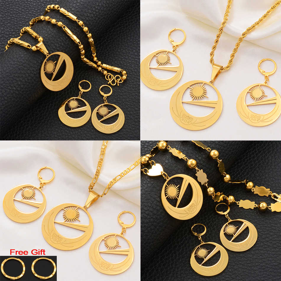 Anniyo Marshall Islands Flag Necklaces Earrings for Women Girls With Flower Jewelry sets Marshalls Party Birthday Gifts #107221