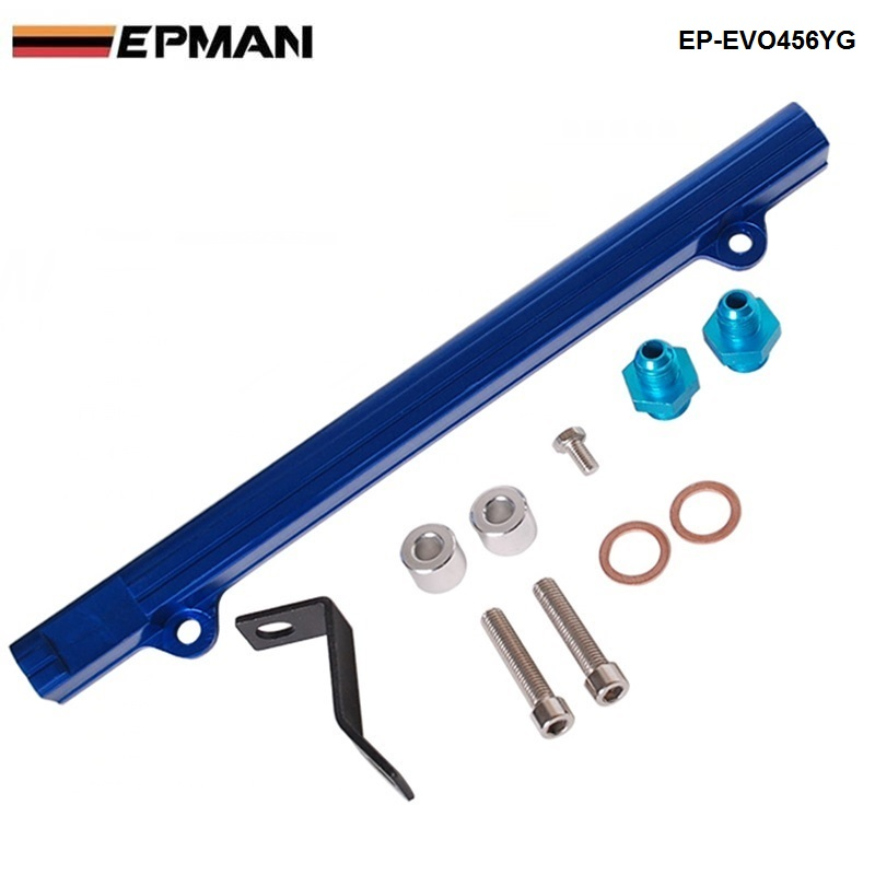 For Mitsubishi 4G63 EVO4/5/6 Aluminium Billet Top Feed Injector Fuel Rail Turbo Kit Blue High Quality EP-Evo456YG