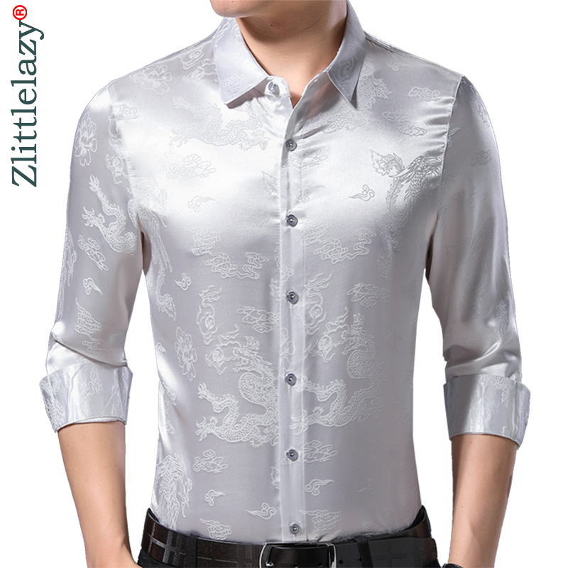 2019 Brand Casual Spring Luxury Silvery Long Sleeve Slim Fit Men Shirt Streetwear Social Dress Shirts Mens Fashions Jersey 50502