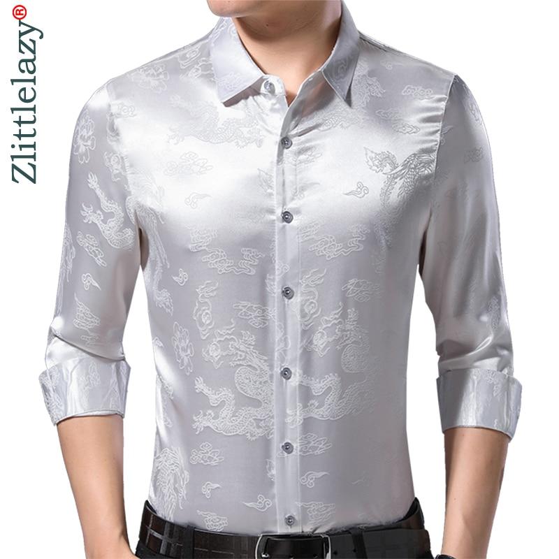 2019 Brand Casual Spring Luxury Silvery Long Sleeve Slim Fit Men Shirt Streetwear Social Dress Shirts Mens Fashions Jersey 50502