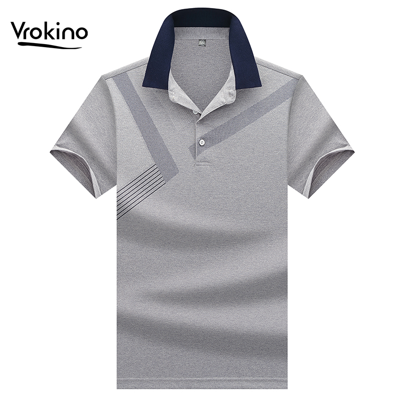 VROKINO New Listing In 2019 Men's Business Casual Cotton Short-sleeved   Polo   Shirt Fashion Small Lapel Comfort Summer   Polo   Shirt