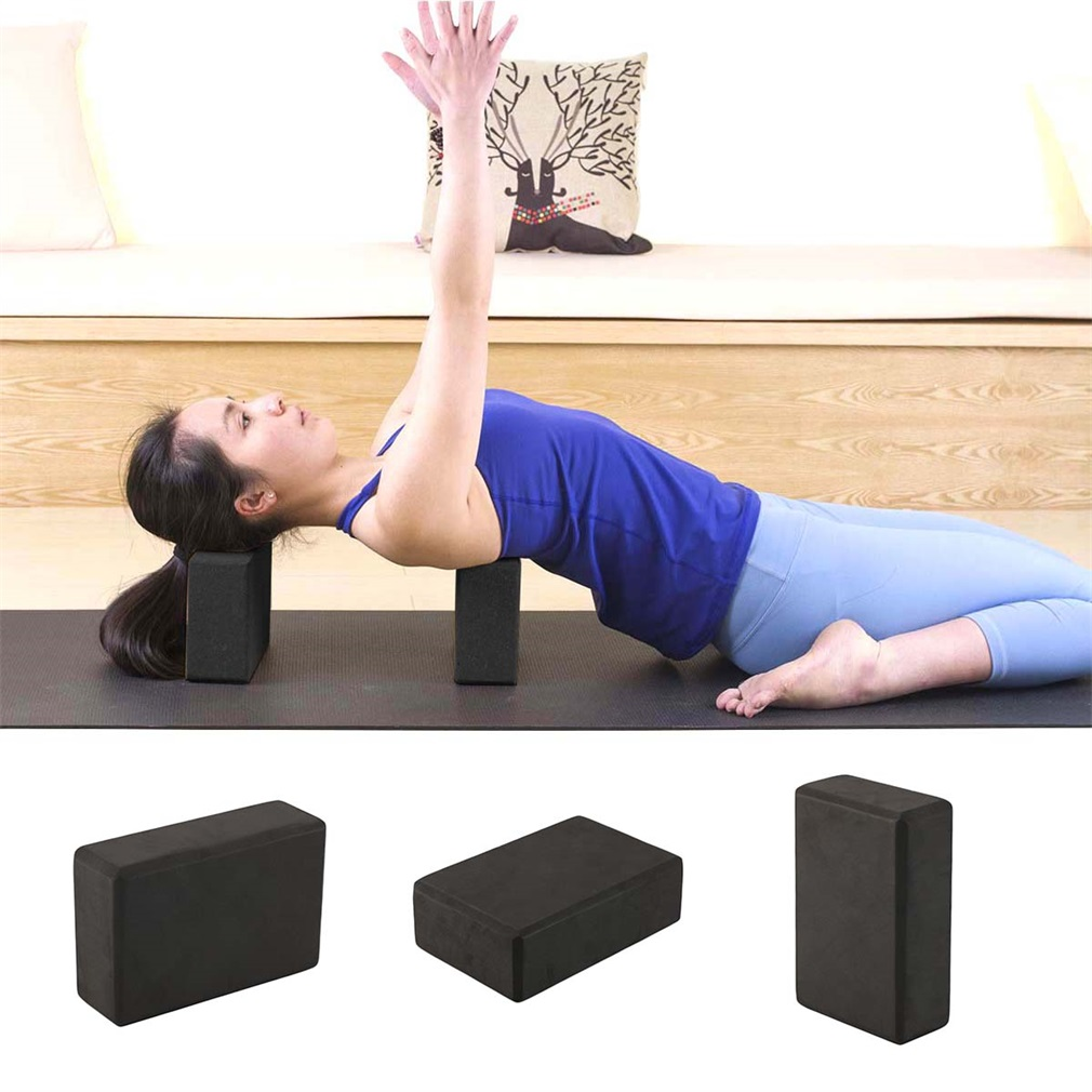 1pcs Eva Black Yoga Block Fitness Exercise Aids Stretch Aid Body Shaping Bolster Foam Pillow For Health Training