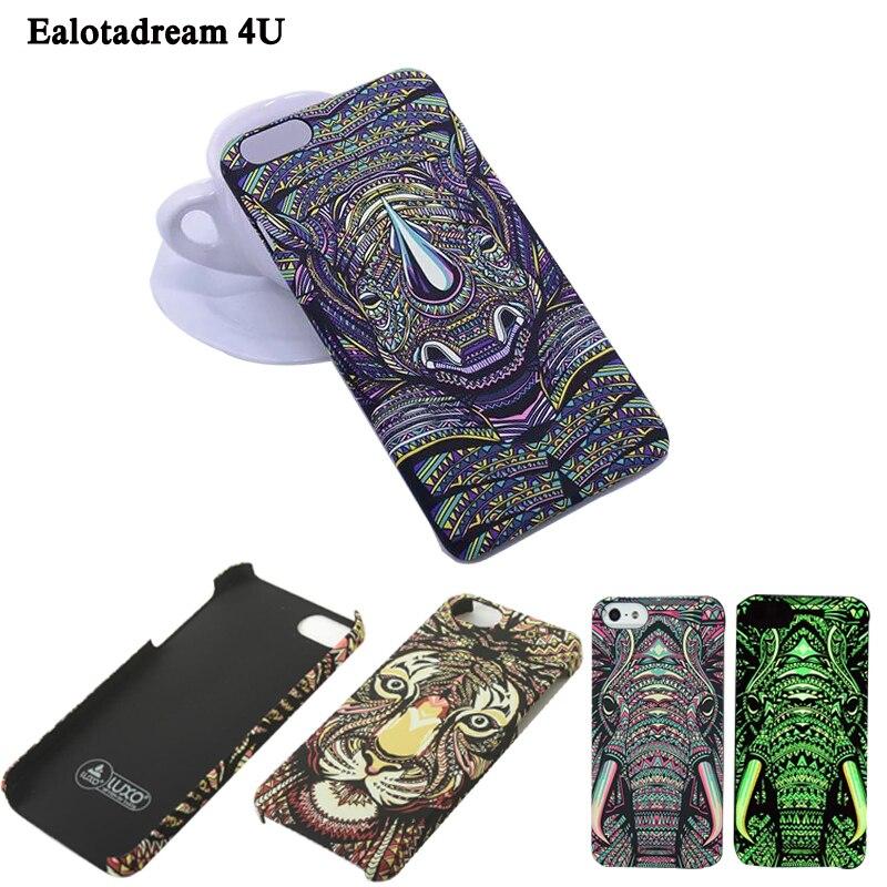 Luminous Aztec Animal Case for iPhone 6 6S Plus Cover Embossed Rabbit Lion Elephant Fundas Case For iPhone 7 Plus 5 5S SE Capa
