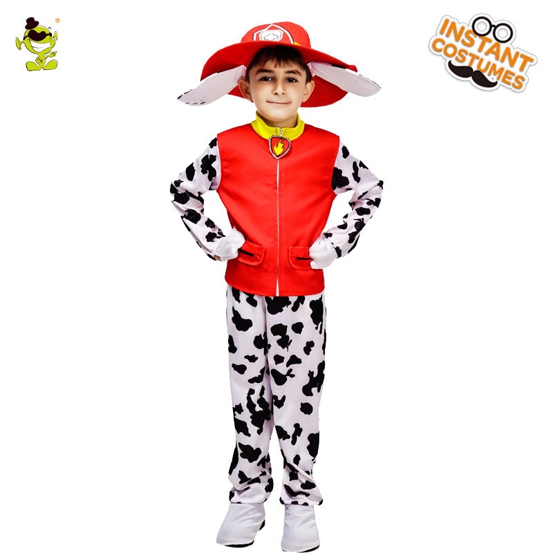QLQ 2018 Patrol Marshall Child Costume Kids High Quality Cows Marshall Costume With Hat For Cainival Halloween Party Costumes