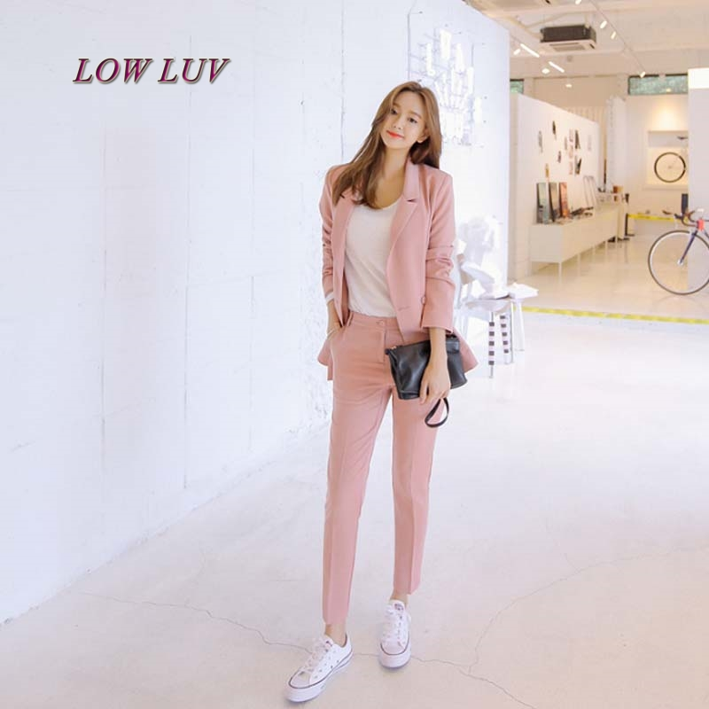 Fall fashion suit suit female career suit jacket and long sections temperament casual two-piece pants tideThe Newdo TB244
