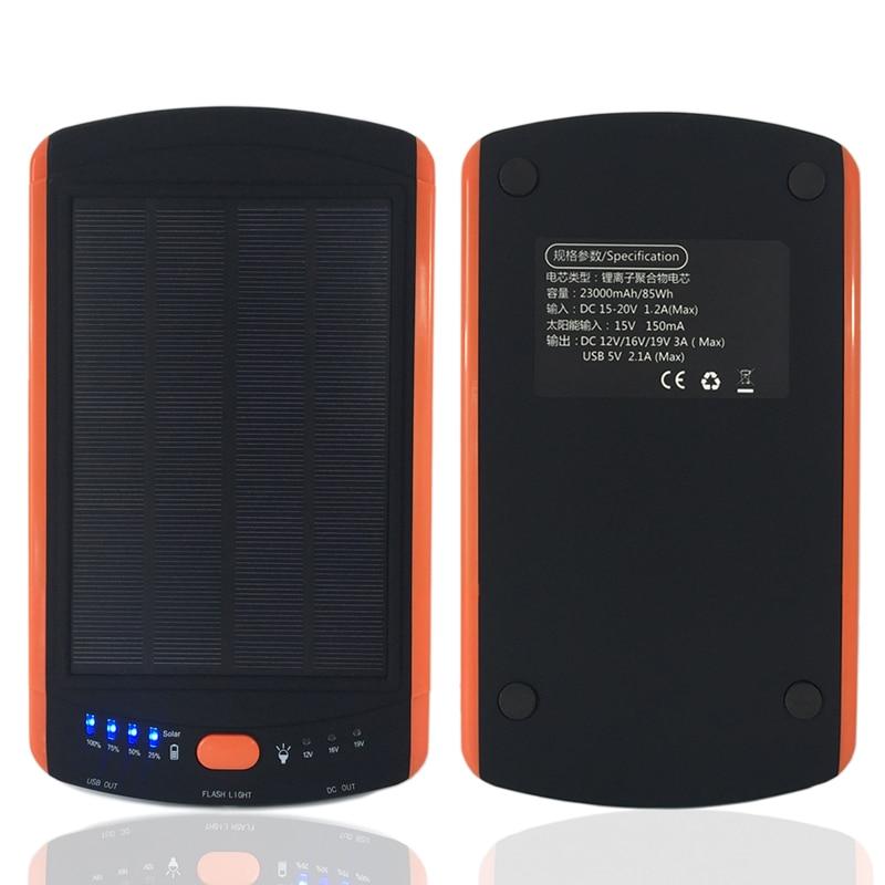 Large Capacity Power Solar 23000mAh Charger For Laptop Backup External Battery 5V 12V 16V 19V Solar