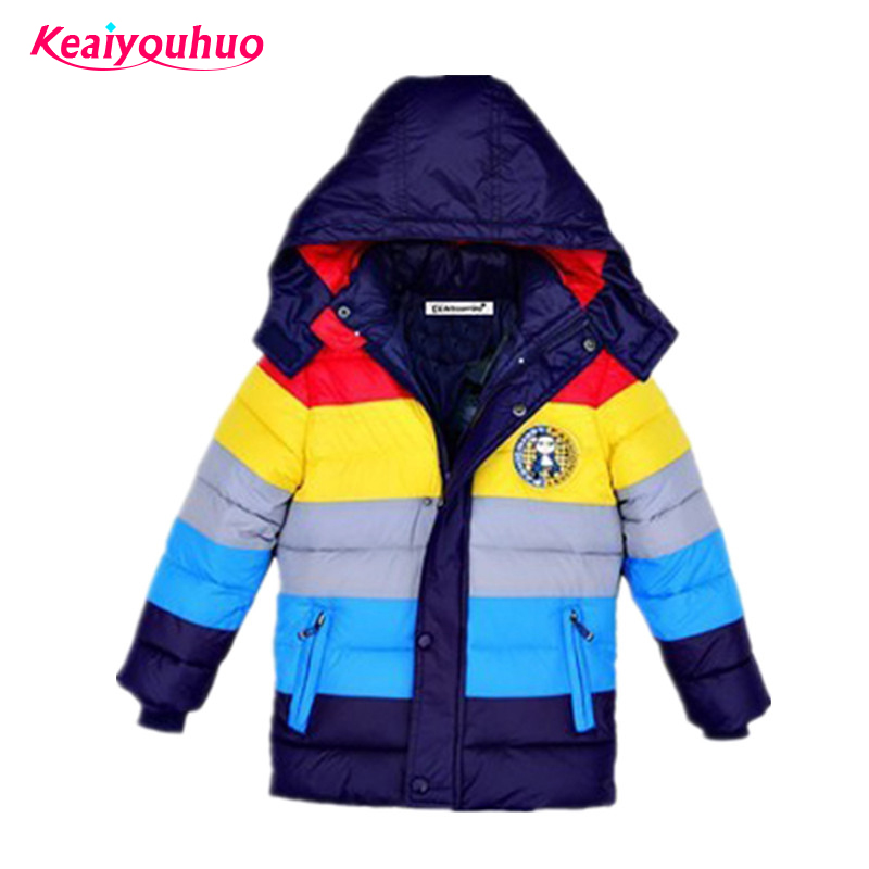 Children Jackets Boys stripe Winter down coat 2018 Baby Winter Coat Kids warm outerwear Hooded Coat for 2-7 yrs Children Clothes fashion baby boys jacket 2018 children clothing winter outerwear kids clothes 1 6 yrs boys hoodies down coat boys jackets