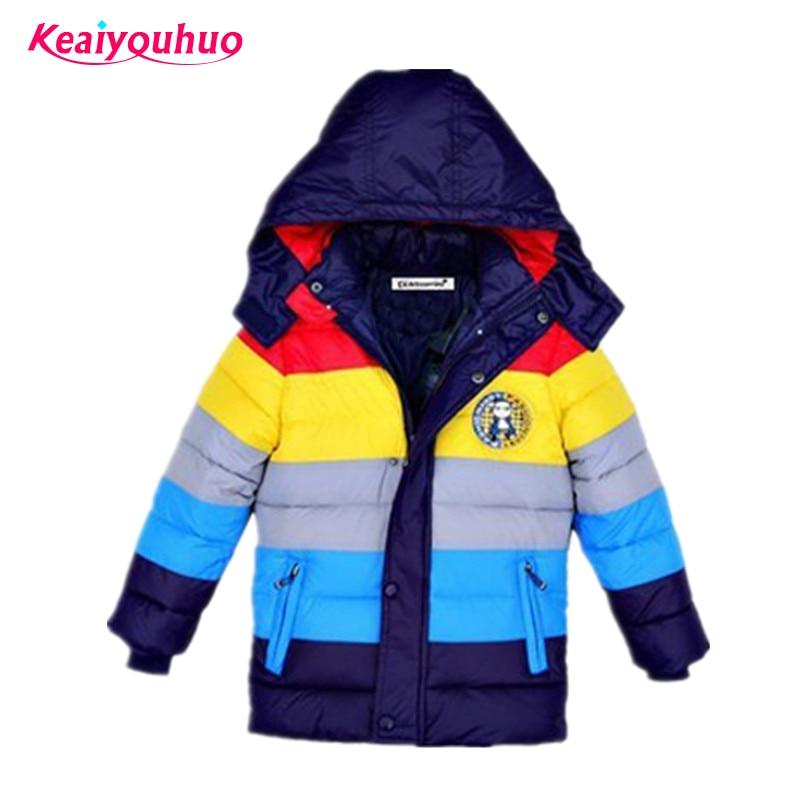 Kinder Jacken Jungen Streifen Winter Unten Mantel 2018 Baby Winter Mantel Kinder Warme Oberbekleidung Mit Kapuze Mantel Für 2-7 Jahre Kinder Kleidung Mutter & Kinder