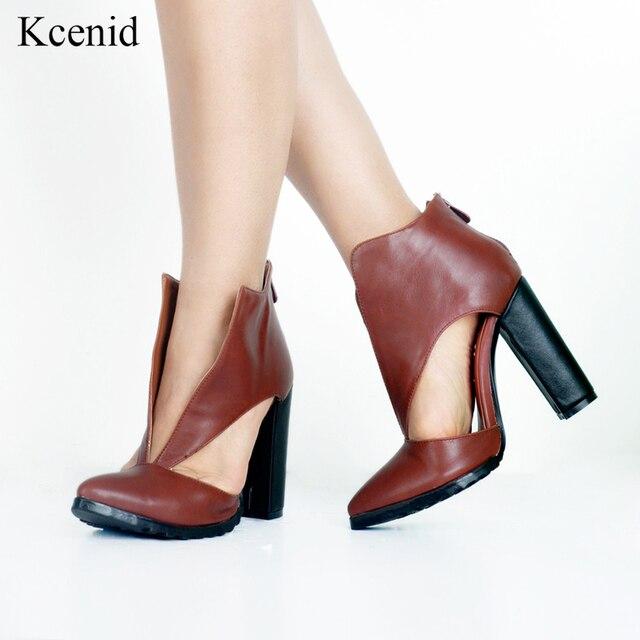 0a890219979 Kcenid Big V shape opening retro shoes woman fashion pointed toe chunky  high heels women pumps